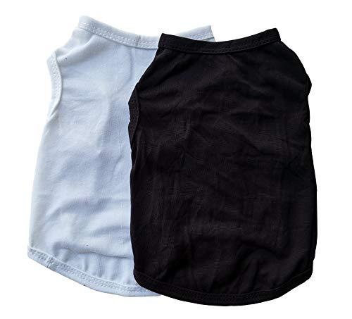 Vedem Hunde-Shirts Hundebekleidung für kleine Hunde, Katze Weste Tee Shirt Kostüme 2er Pack (XS, 2 Stück) Schwarz...