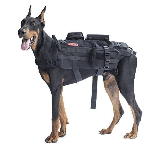 OneTigris Taktisch Hundeausbildung MOLLE Weste Geschirr Hundegeschirr mit einfach Abnehmbare Dienstprogramm Kletttasche...