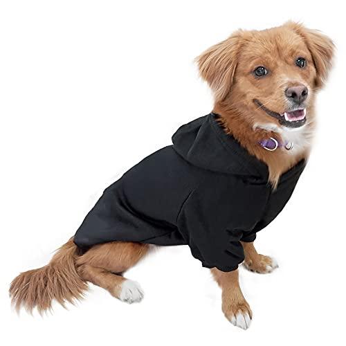 Eastlion Hund Pullover Welpen-T-Shirt Warm Pullover Mantel Pet Kleidung Bekleidung, Schwarz, Gr. XXL