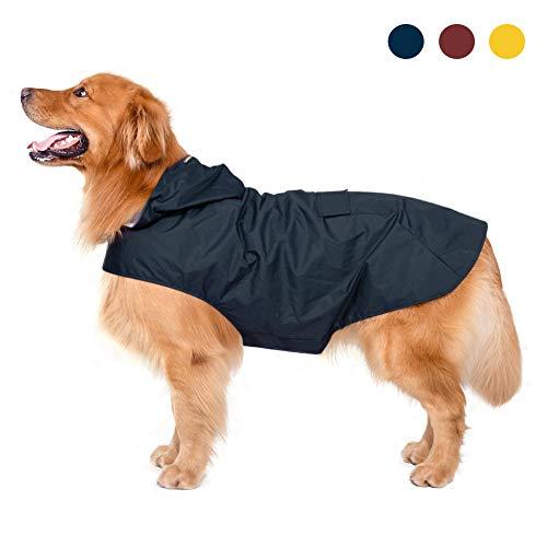 Zellar Hunderegenmantel mit Kapuze & Kragenloch & sicheren reflektierenden Streifen, ultraleichte atmungsaktive 100%...