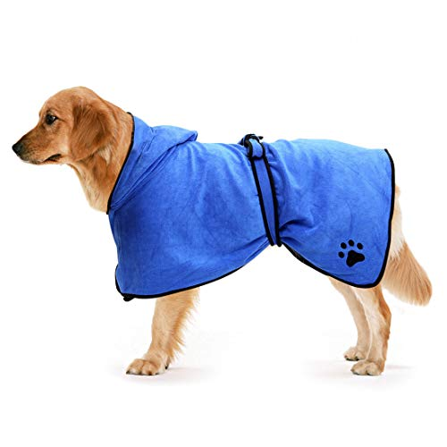 Zellar Mikrofaser Hundebademantel Schnell Trocknend Hund Bademantel Handtuch Blau/Braun