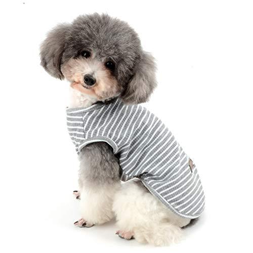 Zunea Hundeshirt für kleine Hunde und Katzen, gestreiftes T-Shirt, Sommer, coole Weste, Welpe, Basic, Tank-Top, weiche...