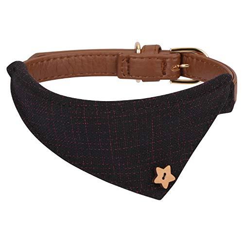 Hanko Süßes Leder Haustier Halsband, Plaid Dreiecktuch Dreiecktuchkrawatte Stil für Hunde, Katzen, Kleines Haustier...