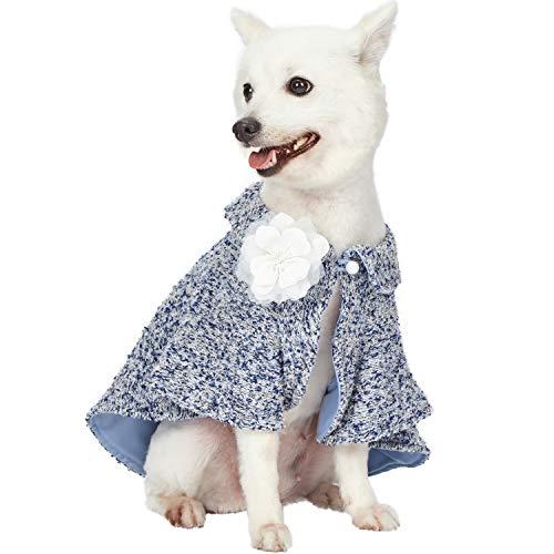 Blueberry Pet Mergelmuster Carolina-Blau All-Wetter Kostüm Handgemachter Strick-Hunde-Poncho Pullover mit Abnehmbarer...