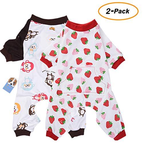 2er Pack Hund Kleidung Hunde Katzen Einteiler weich Hund Schlafanzug Baumwolle Puppy Strampelanzug Pet Jumpsuits Cozy...