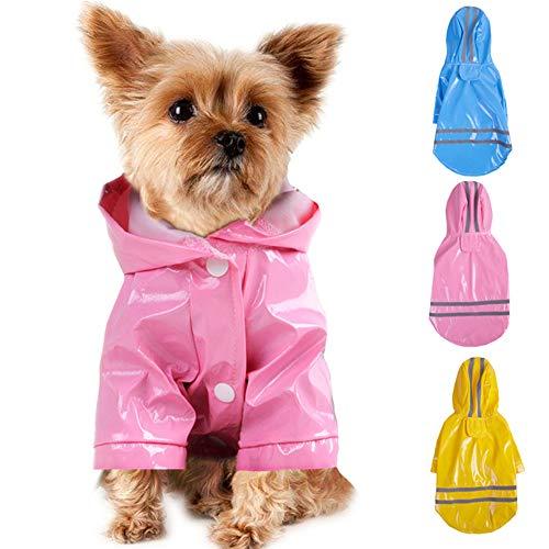 Smoro Im Freienwelpen Haustier Regenmantel mit Hauben Wasserdichten Jacken PU reflektierendem Regenmantel für Hunde...